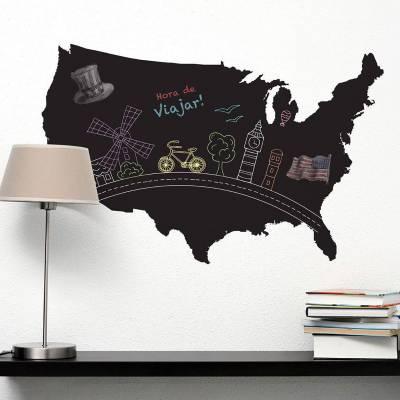 Adesivo De Lousa Abstrato Mapa