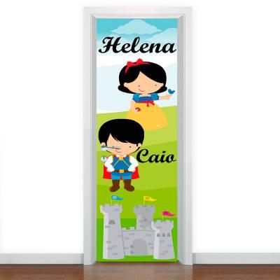 Adesivo De Porta Príncipe E Princesa Com Nome Personalizado