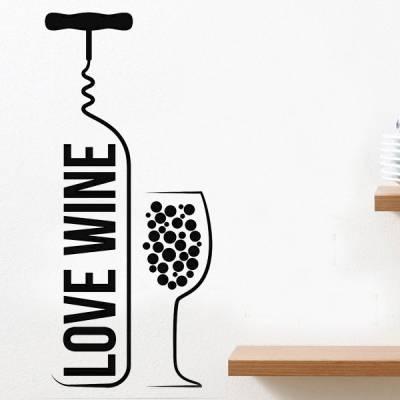 Adesivo de Parede Para Cozinha Vinho Love Wine