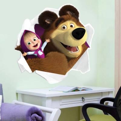 Adesivo de Parede Infantil Marsha e o Urso