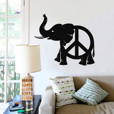 Adesivo De Parede Elefante Com Simbolo Da Paz