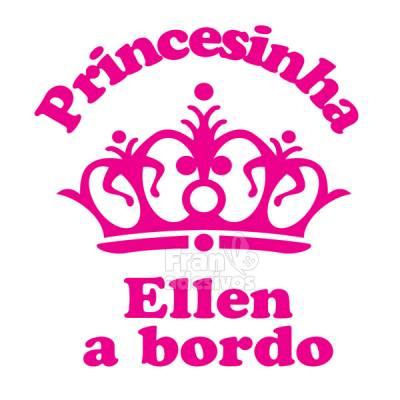Adesivo Bebê a Bordo Personalizado Coroa de Princesa