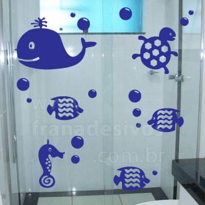 Adesivo para Box de Banheiro - Fundo do mar 4