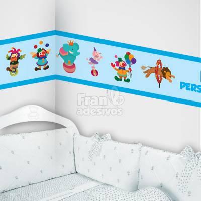 Faixa Decorativa para quarto infantil Circo - Azul Claro