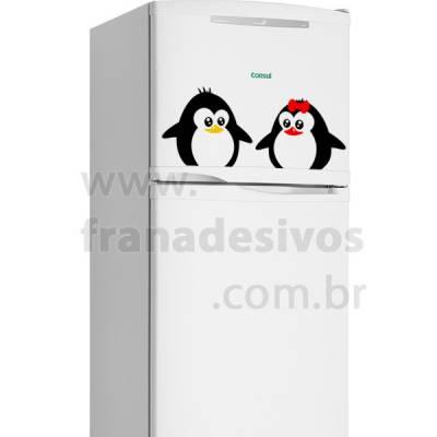 Adesivo de Geladeira Casal de Pinguim / Filhotes
