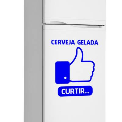 Adesivo de Geladeira Engraçado Facebook / Cerveja Gelada Curtir