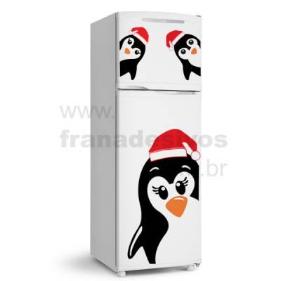 Adesivo de Geladeira Familia Pinguim de natal