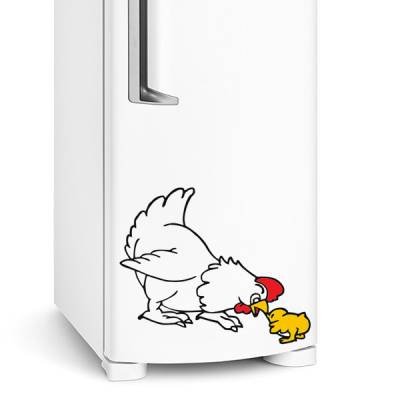 Adesivo de geladeira Galinha com pintinho
