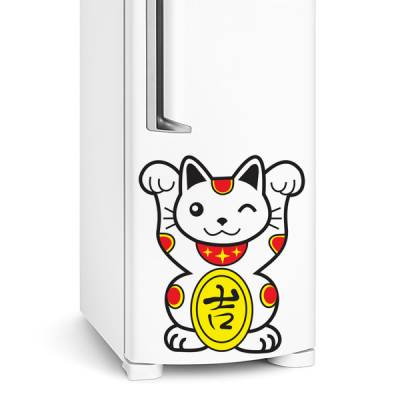 Adesivo de geladeira Gatinho com simbolo