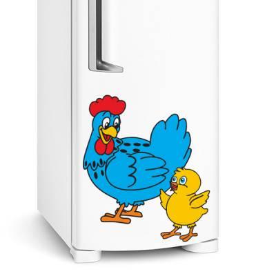 Adesivo de geladeira Galinha azul com pintinho