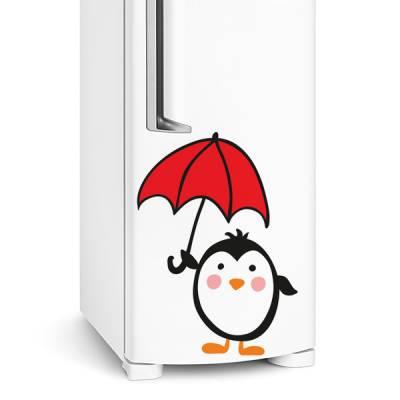 Adesivo de geladeira Pinguim com guarda chuva