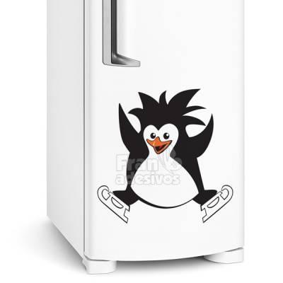 Adesivo de geladeira Pinguim esquiando