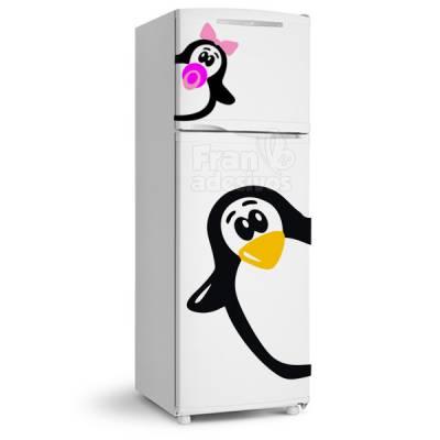 Adesivo de Geladeira Pinguim com filhote