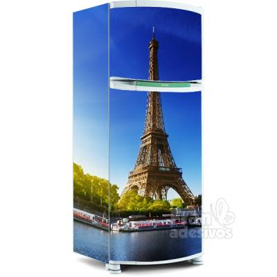 Adesivo para envelopamento de geladeira - Tema Torre Eiffel