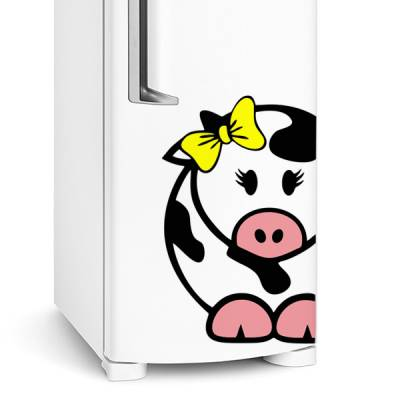 Adesivo de geladeira Vaca com lacinho