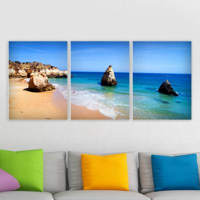 Conjunto de 3 Quadros Decorativos Praia