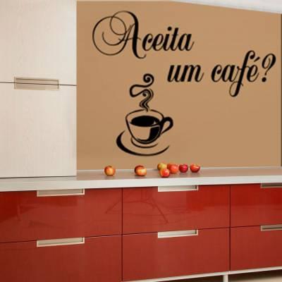 Adesivo De Parede Frase Aceita Um Café