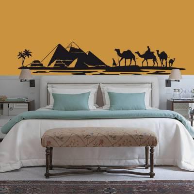 Adesivo de Parede Animais Camelos e Piramides