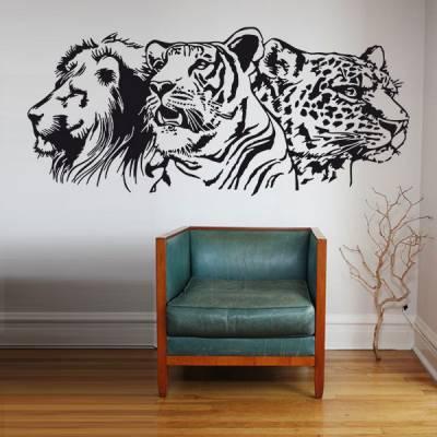 Adesivo de Parede Leão Tigre e Onça