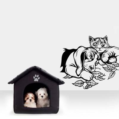 Adesivo de Parede Animais Gato e Cachorro Dormindo