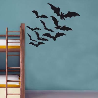 Adesivo De Parede Animais Morcegos Silhueta