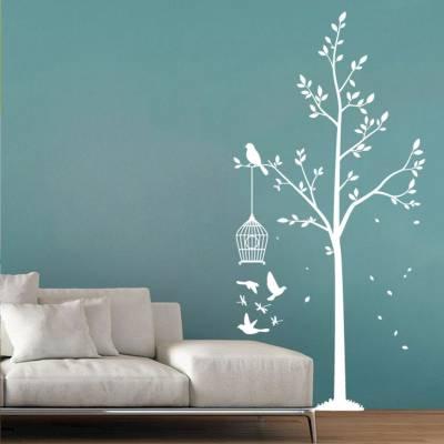 Adesivo de parede arvore com gaiolas de passarinhos