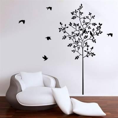 Adesivo de Parede Arvore, Galhos e Pássaros