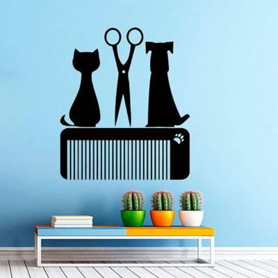 Adesivo de Parede banho e Tosa Cachorro Gato Tesoura Pente Pet Shop