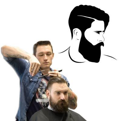 Adesivo De Porta e Parede Barbearia Rosto