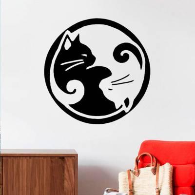 Adesivo De Parede Brasão De Gatos Yin E Yang