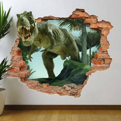 Adesivo de Parede Buraco Falso Dinossauro 3D