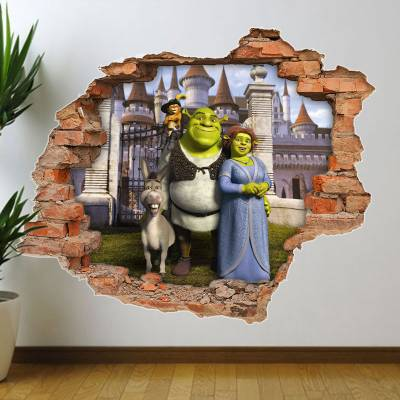 Adesivo de Parede Buraco Falso Shrek