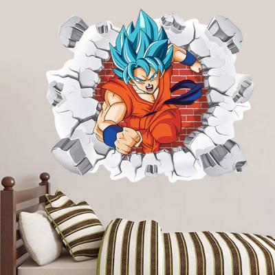 Adesivo de Parede Buraco Falso Dragon Ball Goku Super Saiyajin Azul