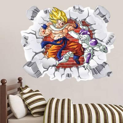 Adesivo de Parede Buraco Falso Dragon Ball Goku versus freeza