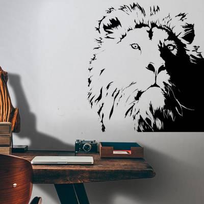 Adesivo De Parede Silhueta Juba De um Leão
