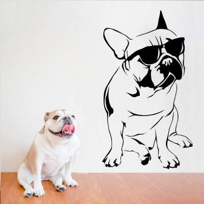 Adesivo de Parede Cachorro de Óculos Escuros