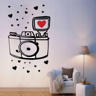 Adesivo De Parede Câmera Com Coração