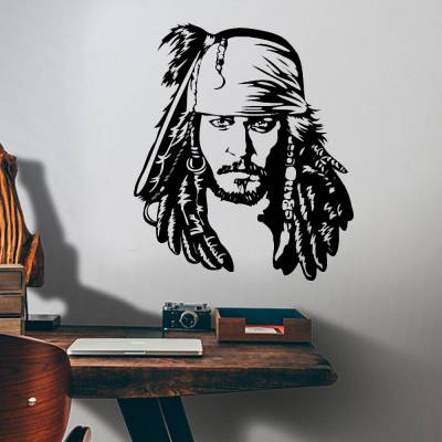 Adesivo De Parede Piratas Do Caribe Capitão Jack Sparrow