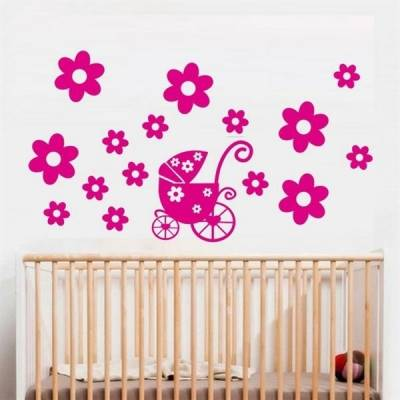Kit de Adesivos Decorativo para Quarto Infantil Carrinho com flores