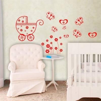 Cartela - Carrinho de bebe com borboletas e flores