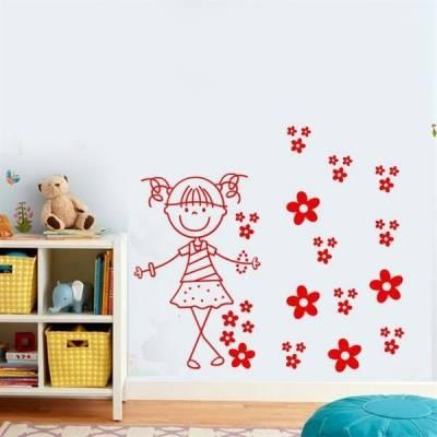 Kit de Adesivos Decorativo para Quarto Infantil Menina com flores