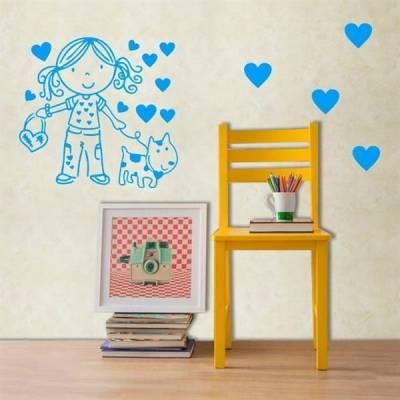 Adesivo de Parede Cartelas Menina, cachorro e corações