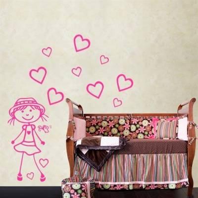 Kit de Adesivos Decorativo para Quarto Infantil Menina com corações 2