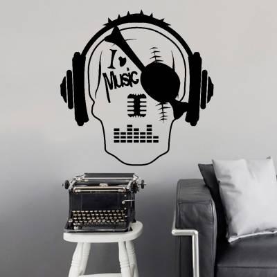 Adesivo De Parede Caveira I Love Music