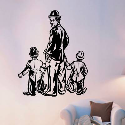 Adesivo De Parede Chaplin Com Duas Crianças