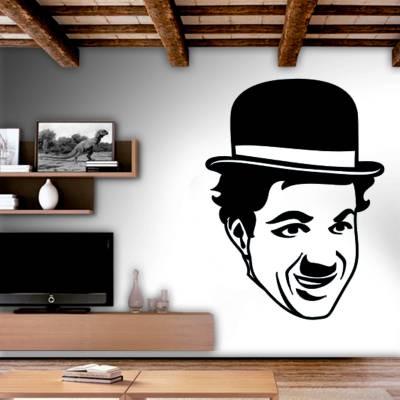 Adesivo De Parede Personalidades Rosto Charlie Chaplin