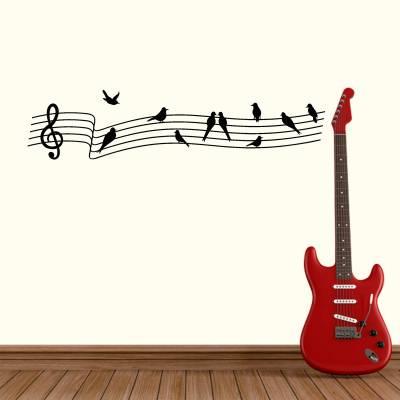 Adesivo de Parede Musical Clave De Sol Com Passarinhos