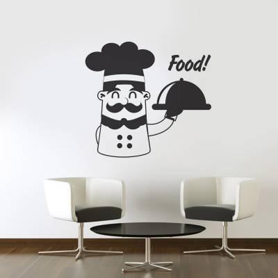 Adesivo de Parede Cozinha Cheff com Bandeja