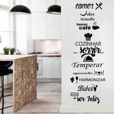 Adesivo de Parede Cozinha frase cozinhar das risada Comer