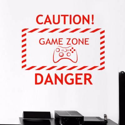 Adesivo De Parede Cuidado Gamer Zone